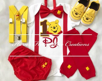 80dea3196c4d 3-pc Winnie the Pooh Inspired boys Birthday outfit-includes personalised  top