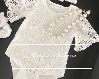 77178b24c White Lace baby romper and headband -Baby lace romper , baby romper