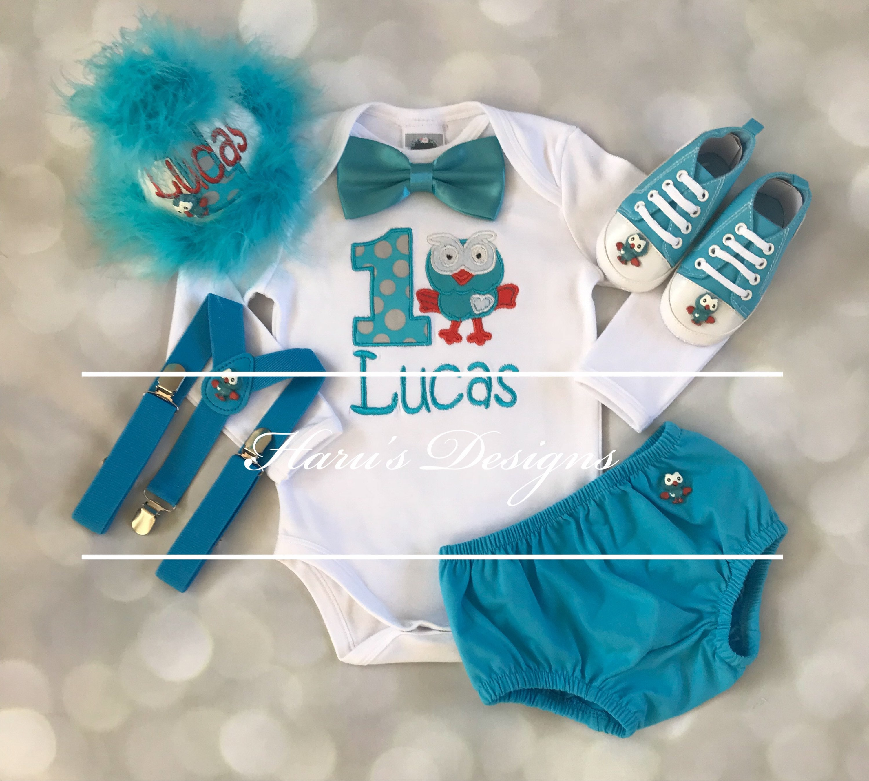 6pc set Giggle Birthday and Hoot inspired boys Birthday Giggle outfit- includes personalised Top,bowtie,diaper cover,suspenders ,shoes,partyhat 1e97d0
