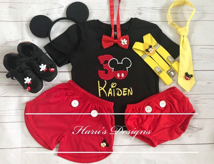 4 Pieces personalised -Mickey mouse Inspired Birthday outfit -includes personalised Pieces top,bottom,suspenders and shoes 32637e