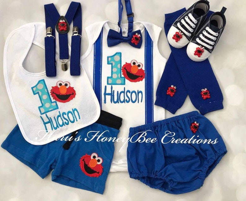 88ac8850 2-pcs Personalised Elmo Sesame street Inspired Birthday | Etsy