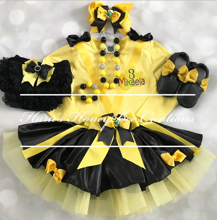 6-pcs set Yellow and black tutu Emma Wiggles skirt,headband,bloomer,shoes,leg inspired outfit-includes personalised top,tutu skirt,headband,bloomer,shoes,leg Wiggles warmers 4ae028