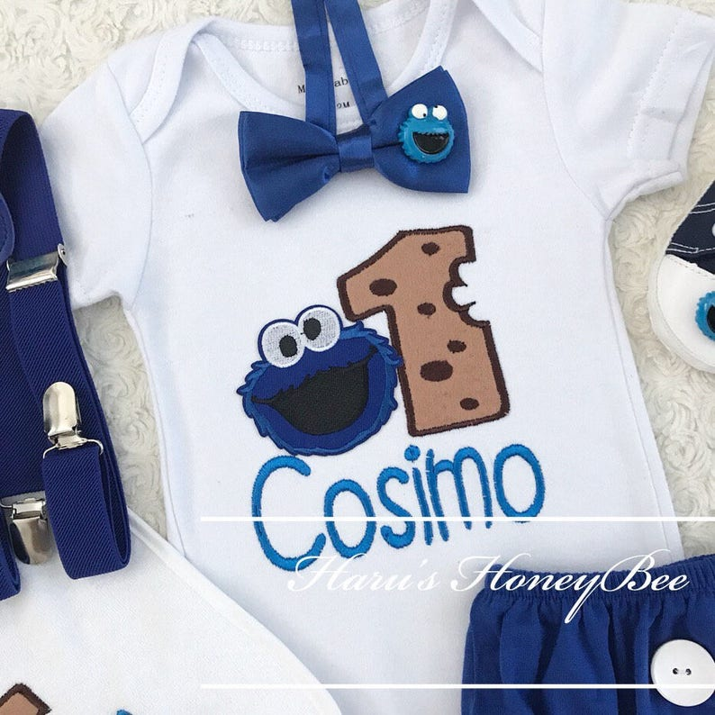 3-pc set Sesame street Cookie Monster birthday outfit - include  personalised top,bottom and shoes