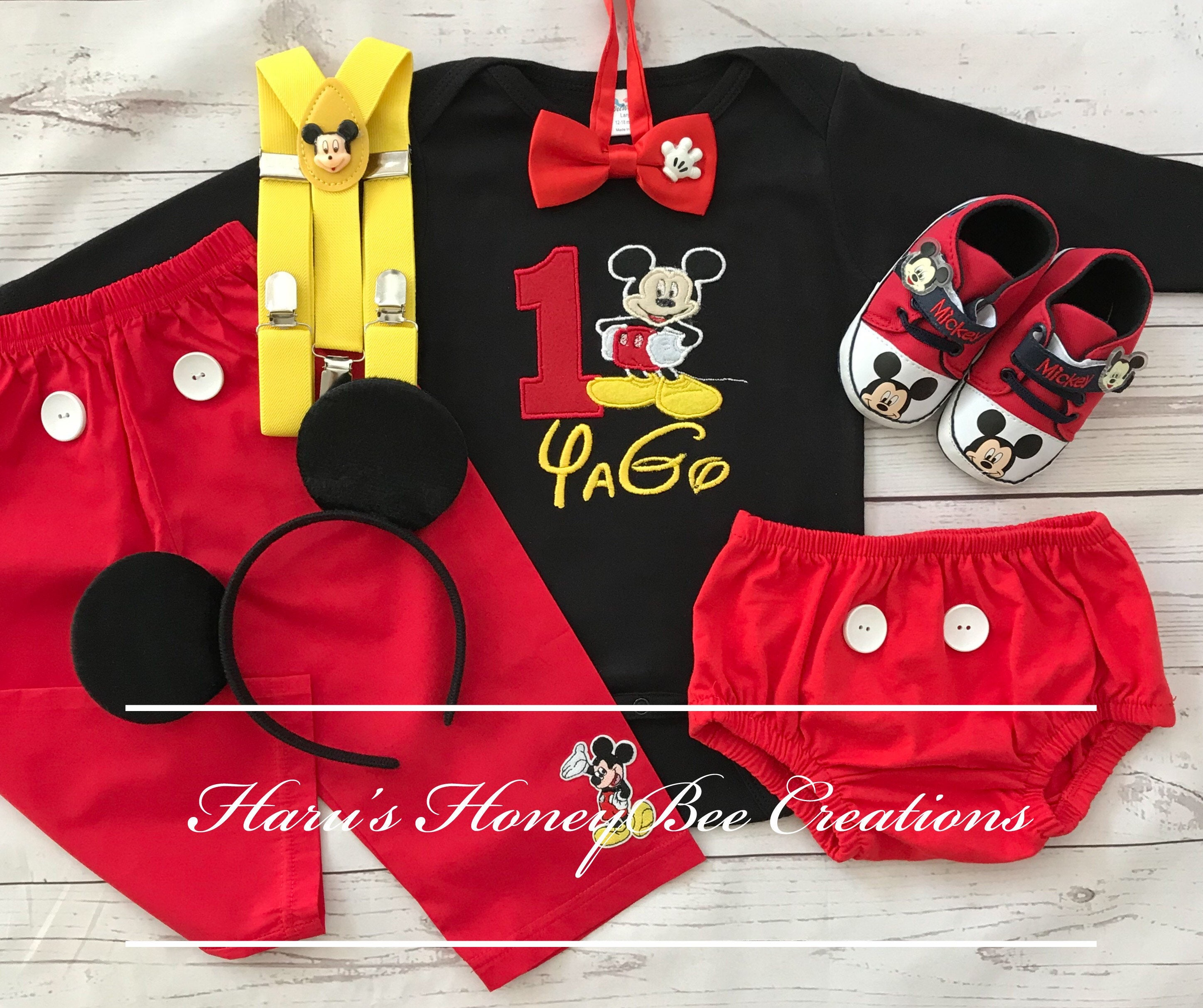 5 Pc Set Mickey Mouse Inspired Birthday Top2bottomssuspenders And Bow Tie Mickey Outfit Mickey 1st Birthday Outfit