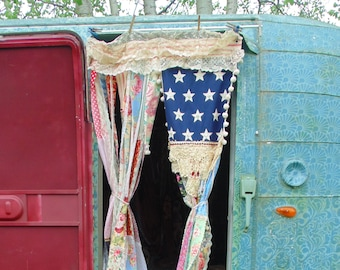Handmade AMERICAN FLAG door curtain