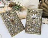 PAIR vintage metal light switch plate metallic brass silver Hollywood Regency 1970 39 s