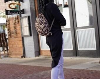 ZEBRA PATTERN Animal Print Over-the-Shoulder Backpack   Animal Pattern Backpack   Drawstring Bag   Cute Overnight Bag