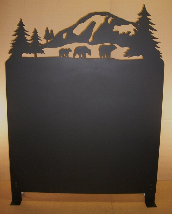 Bear And Mountain Scene Wood Stove Heat Shield Etsy