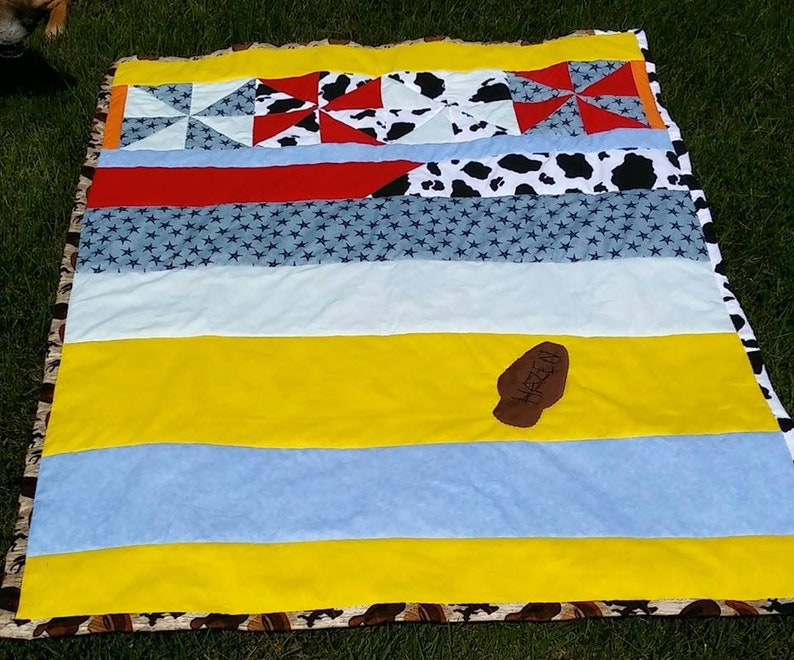 made to order No snakes in this boot Toddler Quilt