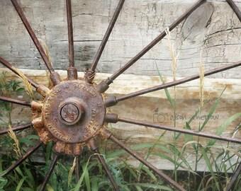 Rustic Wall Decor, Wagon Wheel Photograph, Country Farmhouse Decor, Farm Art, Living Room Decor, Davenport, Iowa | 'Metal Wheel Company'