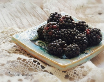 Blackberry Photograph, Farmhouse Kitchen Decor, Blue Wall Art, Restaurant Decor, Rustic Fruit Still Life | 'Blackberries'