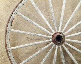 Neutral Wall Art, Rustic Photography,Country Home Decor, Earthtones, Wood |'Wagon Wheel'