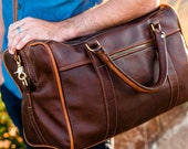 Handmade Leather Duffel Bag Duffle Bag Leather Bag Leather Satchel Men Brown Arizona - Lifetime Leather