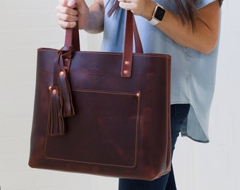 Genuine Leather Tote Bag for Women, Valentine Gift, Mother's Day Gift Ideas, Leather Bag Purse Handbag Monogram Tote with Zipper - Lifetime