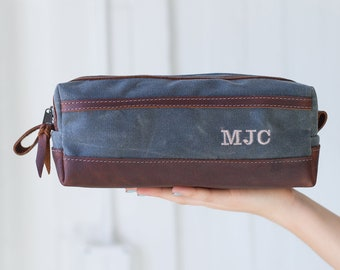 Gray Wax Canvas Dopp Kit Bag Groomsmen Gifts Monogrammed Mens Toiletry Bag  Canvas Unique Gifts For Men Gifts for Him - Lifetime Leather b03f50c29e17f