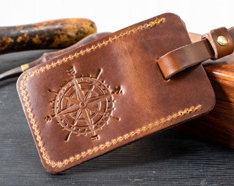 c1ffdbe997778 Personalized Leather Luggage Tag - Compass - Gifts For Men Travel Gifts For  Him Groomsmen Gifts Custom Luggage Tag