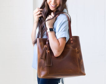 422048054dbc Genuine Leather Tote Bag Leather Handbag Gift for Women Leather Purse  Leather Book Bag - Lifetime Leather