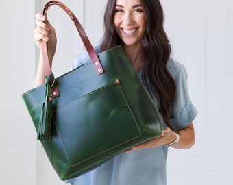 6fa15eab7f17 Green Leather Tote Bag for Women Leather Bag Leather Purse Handbag Monogram  Tote with Zipper Laptop Work   Student Bag - Lifetime Leather