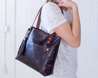 Small Leather Tote Etsy