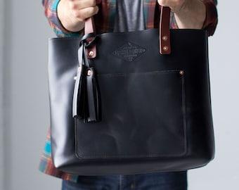 2c40ee436e Black Leather Tote Bag For Women Black Leather Bag Leather Handbag Gift for  Her Diaper Bag Laptop Bag Handmade - Lifetime Leather