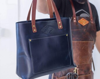 Women Leather Purse Leather Tote Bags for Women Leather Tote Bag Navy Blue Tote Leather Tote Navy Blue Leather Tote Bag Gift Women