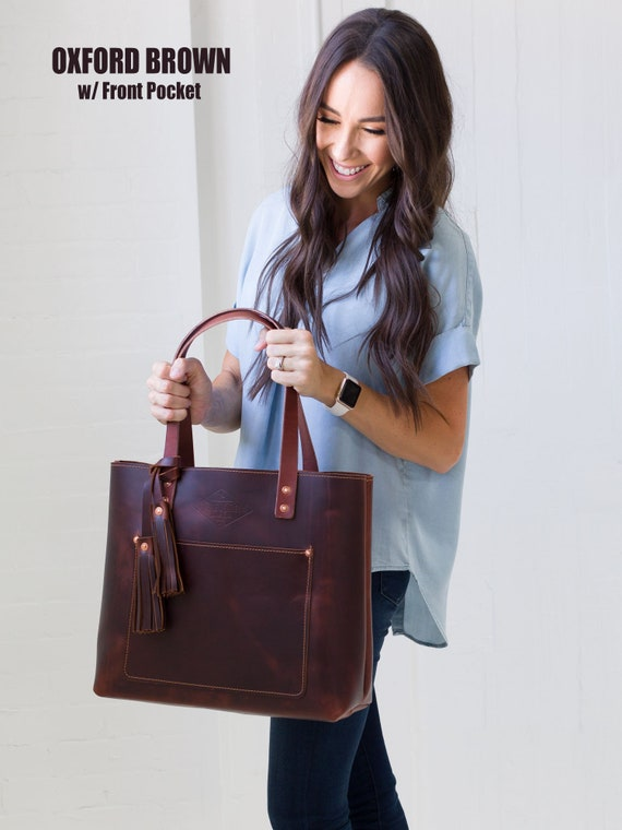 9965a62dc7 Large Brown Leather Tote Bag for Women Handmade in USA