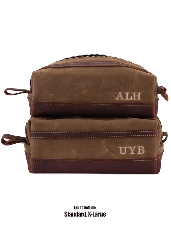32b86ea84 Waxed Canvas Dopp Kit Bag Wax Canvas Toiletry Bag Monogram | Etsy