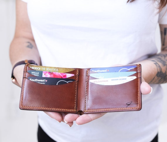 Personalized Leather Bifold Mens Wallet - Made in the USA - Genuine Full Grain Leather by Lifetime Leather