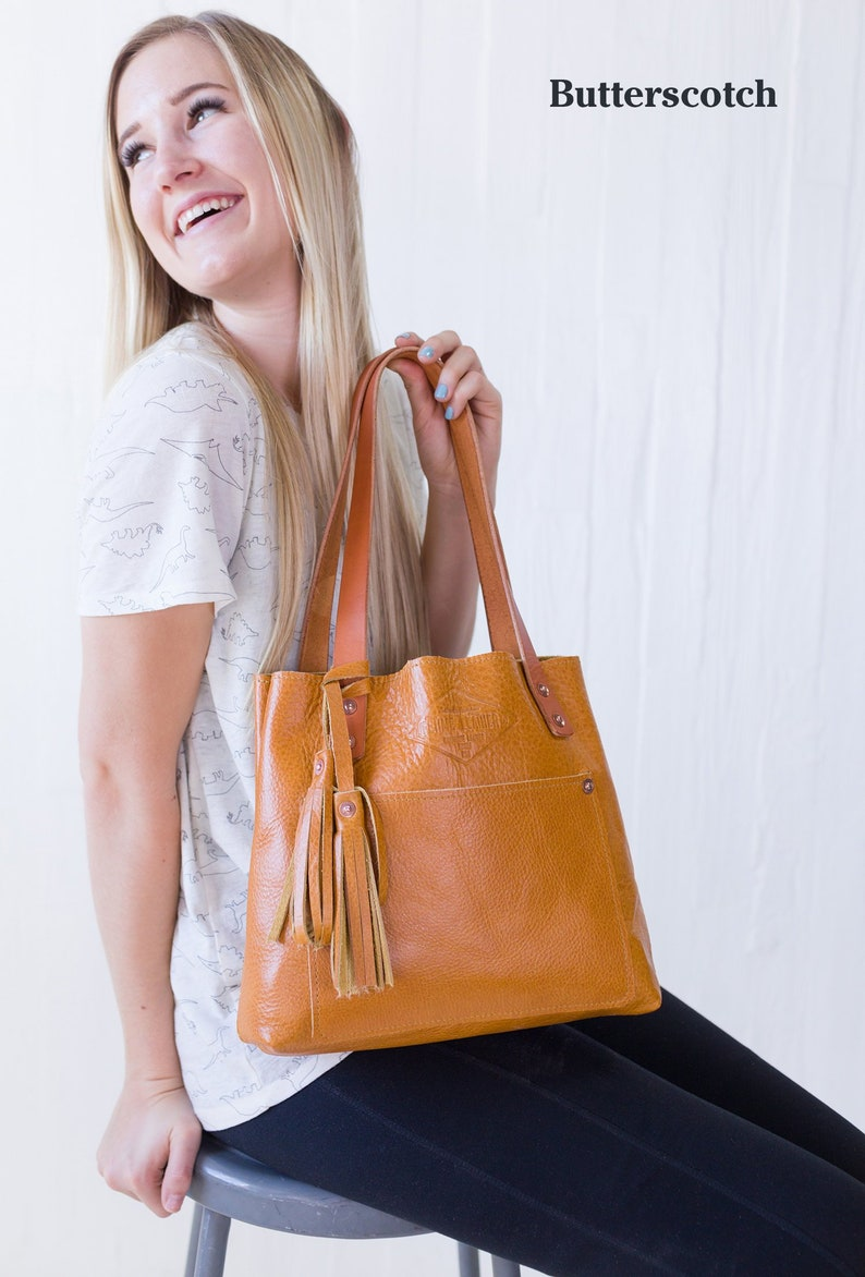 ed7a8ef82163 Butterscotch Small Leather Tote Bag for Women Small Leather