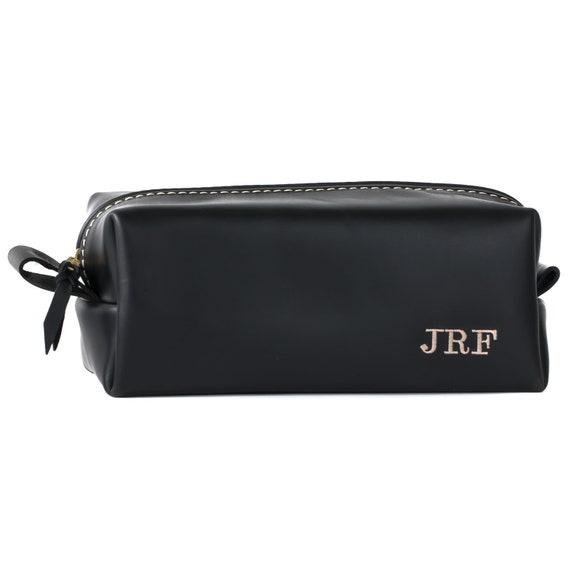 Black Leather Dopp Kit Bag Groomsmen Christmas Gifts for Men  28956da7f3abe