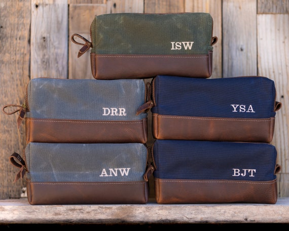 Waxed Canvas Toiletry Bag Groomsmen Gifts Waxed Canvas Dopp  85d4b57adb125