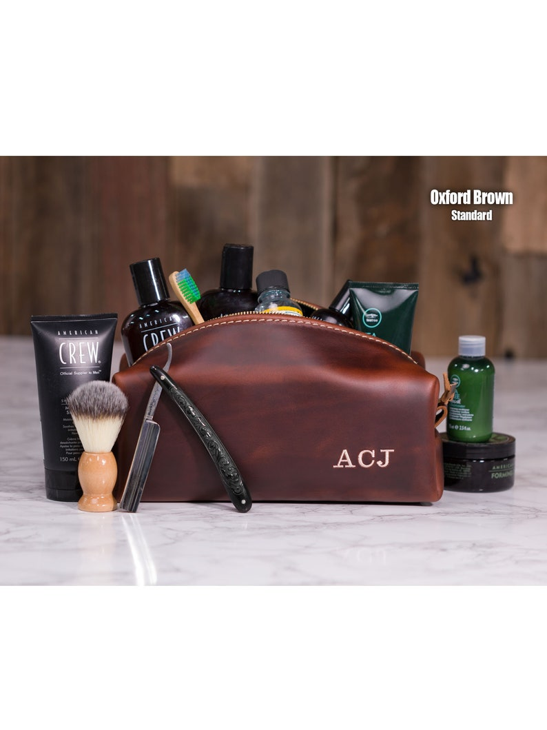 Dopp Kit Bag Leather Toiletry Bag with Monogram Mens Toiletry  35f2f98edadef