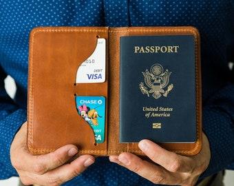 Passport Holder Travel, Father's Day Gift, Personalized Passport Cover, Gift For Men, Full Grain Leather Passport Holder - Lifetime Leather