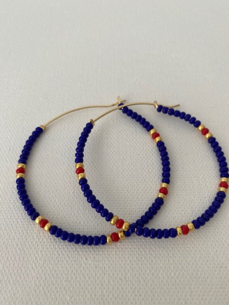 Navy Blue Beaded Red Hoop Earrings Gold Sprinkles Rainbow Colorful