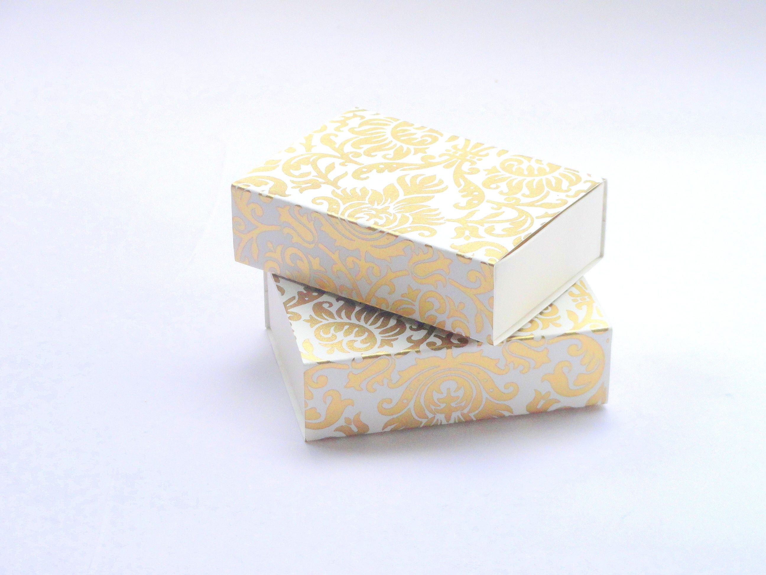 50 Ivory N gold Damask print favor box Packaging box size