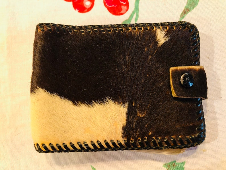 Beautiful Vintage Cow Hide Leather with Fur Wallet Western