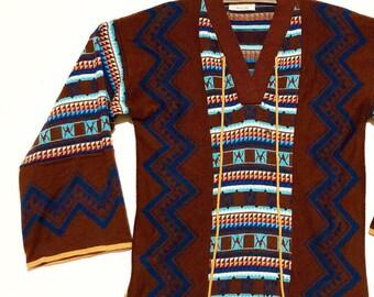 70s Tunic Sweater | S / M |Geometric Print Catalina