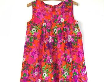60s DayGlo Flower Power Dress
