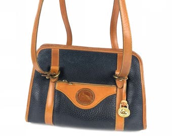 90s Dooney & Bourke Navy Satchel Purse| Large Zip-top Shoulder Bag All Weather Leather
