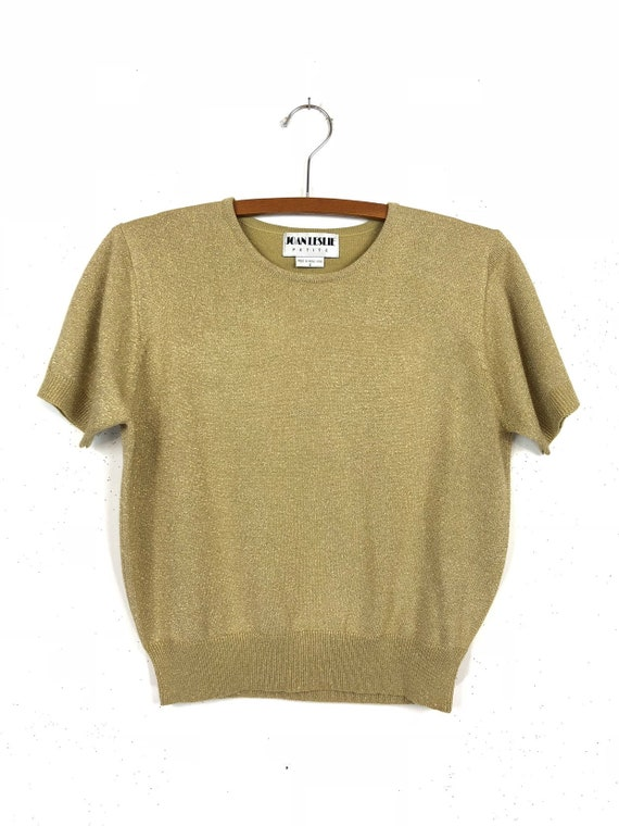 Gold Glitter Sweater | Cropped | Short Sleeves