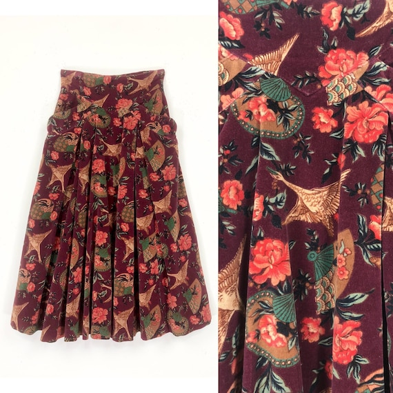 70s Crane Print Velvet Skirt | Asian Fan & Crane P