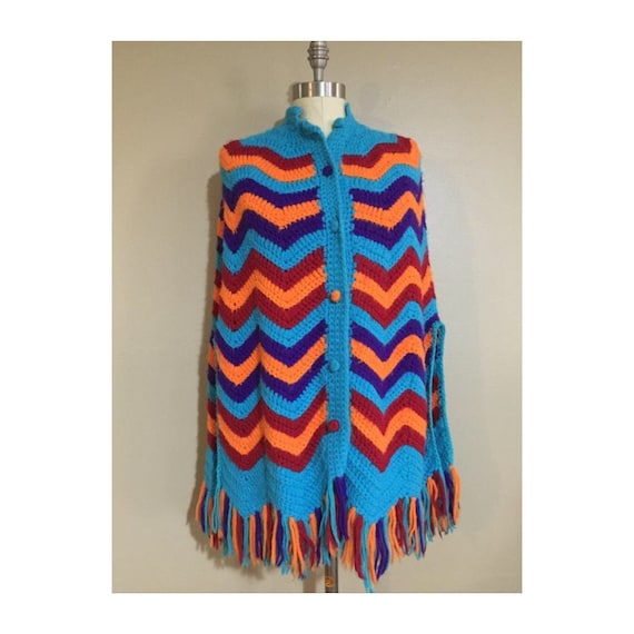 70s Crocheted Cape | Chevron Print | Knit Afghan