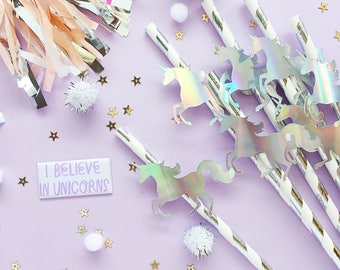 Unicorn Straws/ Unicorn/ Unicorn Party/ Holographic/ Unicorn Birthday/ Bridal Shower/ 21st Birthday/ Baby Shower/ Gender Reveal/ Straws