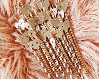 Custom Wedding Straws/ Straws With Flags/ Hen Party Straws/ Bachelorette Straws/ Bridal Shower Straws/ Initial Straws/ Straws With Hearts