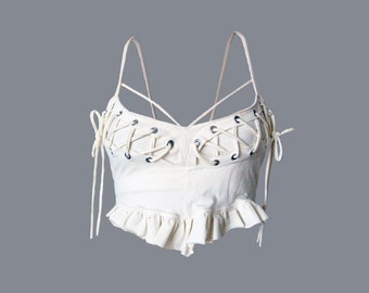 MIMOSA BRA TOP [ burning man clothing . festival clothing . rave bra . pixie top . yoga bra . yoga top . bra top . built in bra . cage bra ]