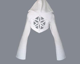 ORCHID CROP HOODIE [ festival clothing . seed of life . flower of life . sacred geometry . flower of life hoodie . burning man clothing ]