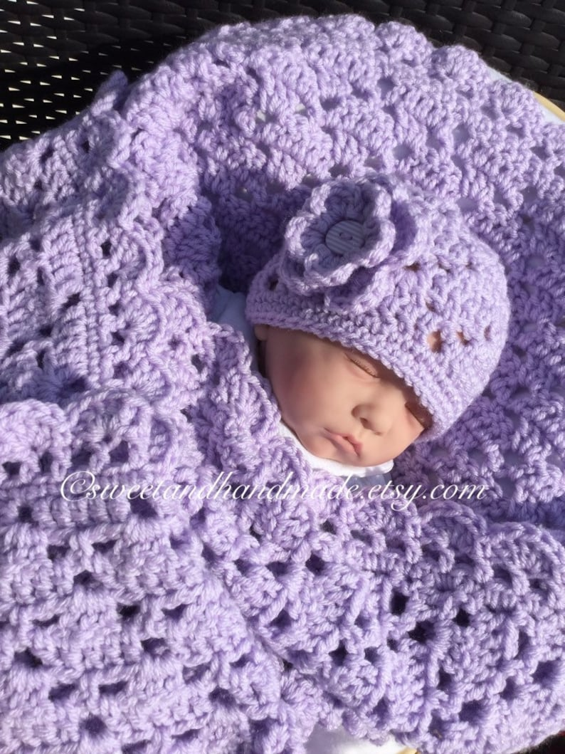 crochet baby afghan  light lavender blanket and hat pink baby afghan baby shower gift bring baby home set