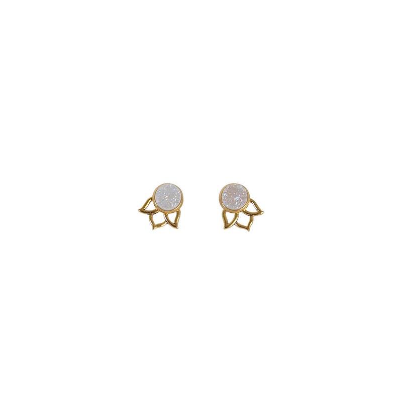 Druzy Stud Earrings 3-in-1 Lotus Ear Jackets