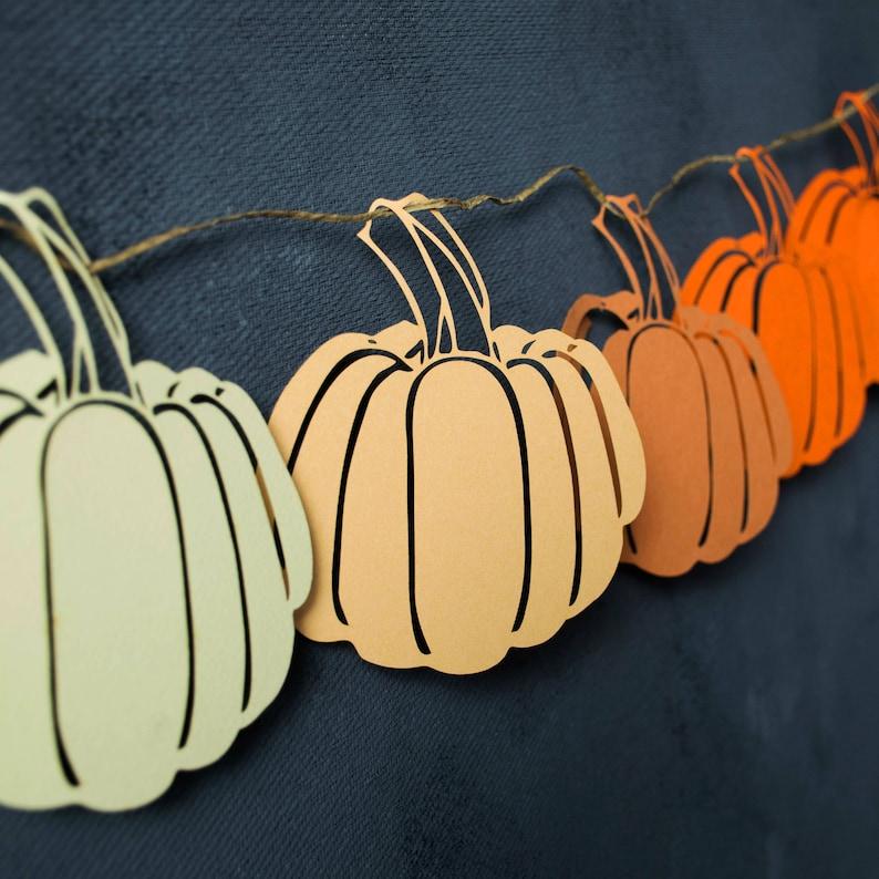 Paper Garland Rustic Mantle Decor Ombre Pumpkin Fall Garland Fall Mantel Decor Thanksgiving Banners Autumn Garland
