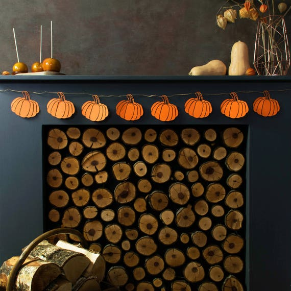 Rustic Pumpkin Garland For Mantel Fall Mantel Decor Rustic Pumpkin Decoration Thanksgiving Banners Rustic Mantle Decor